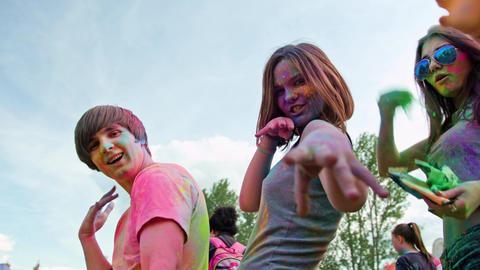 Celebrants Dancing During the Color Holi Festival Footage
