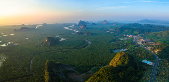 aerial photography Phang Nga city in the morning Photo