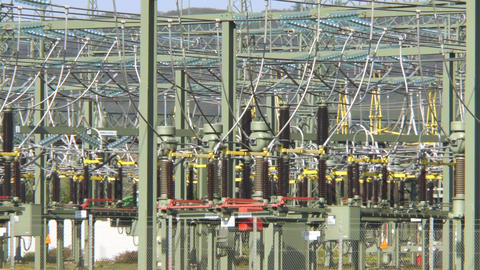 High voltage power transformation station Stock Video Footage
