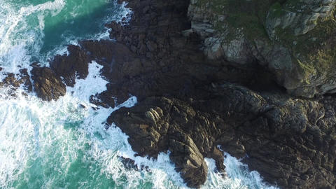 Pointe of Grouin, Britain, filmed by drone, Cancale, France Footage