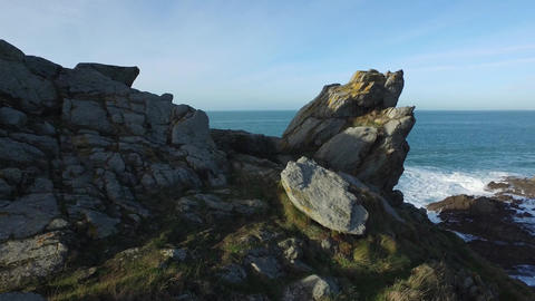 Pointe of Grouin filmed by low-altitude drone, Cancale, Brittany France Footage