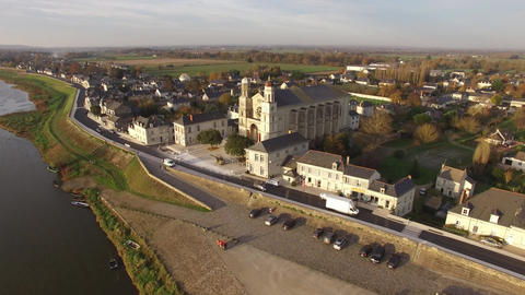 Aerial view by drone of Saint Clement of Exercise, Pays de La Loire, France Footage