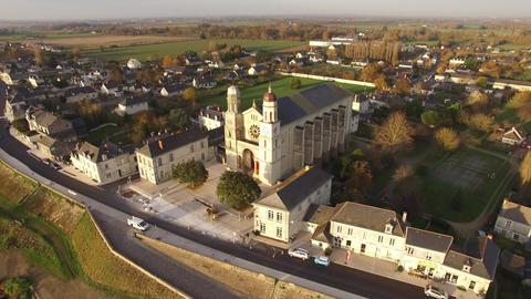 Aerial view by drone of Saint Clement of Exercise, Pays de La Loire, France Footage