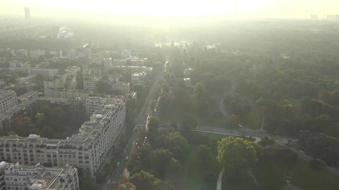 Eiffel Tower in smog filmed by helicopter, Paris, France Live Action