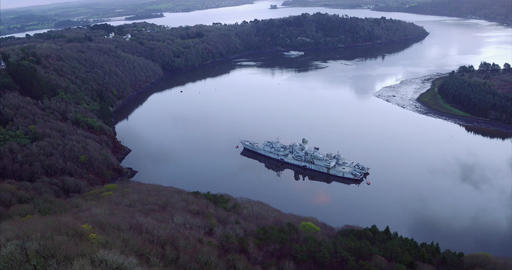 Cemetery of ships, Landévennec, Brest harbor, France - Aerial video by drone Footage