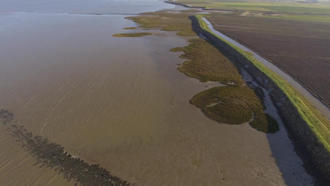 Aerial view by drone of the Passage du Gois high tide Bellevue side in winter, V Footage