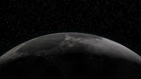 Earth rising over Moon horizon Stock Video Footage