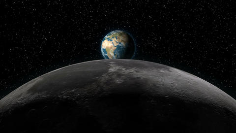 Earth rising over Moon horizon Animation