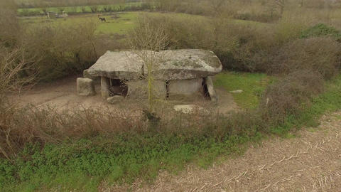 Aerial view by drone of the Dolmen of La Frébouchère, Loire Valley, France Footage