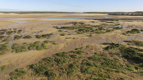 Aerial view of Pointe du Payré, Jard on sea country of the Loire, France Live Action