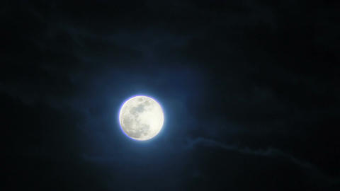 Moon shining at night when witches, zombies, vampires and werewolves come out Footage