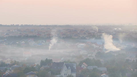 Once charming town covered in thick layer of smog from industrial factories Footage
