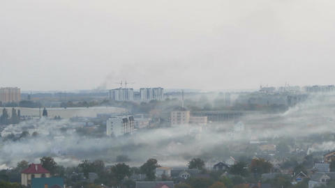Dangerous smog from coal and industrial emissions over industrial city, ecology Footage