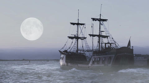 Ghost of legendary frigate sailing in sea at midnight in search for adventures Footage