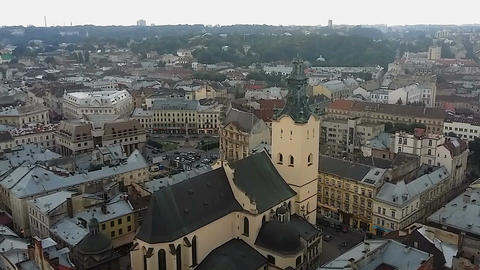 Aerial view to Archcathedral Basilica of Assumption of Blessed Virgin Mary, Lviv Footage