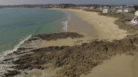 Aerial view by drone of the beach in Audierne and the estuary of the River Goyen Footage