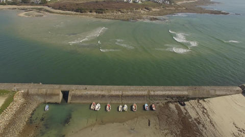 Aerial view by drone of the estuary of the river Goyen, Audierne, Brittany, Morb Footage