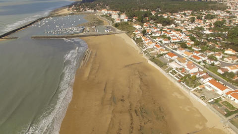 Aerial view by drone from the beach in Jard-sur-Mer, Vendee, Loire Valley, Franc Footage