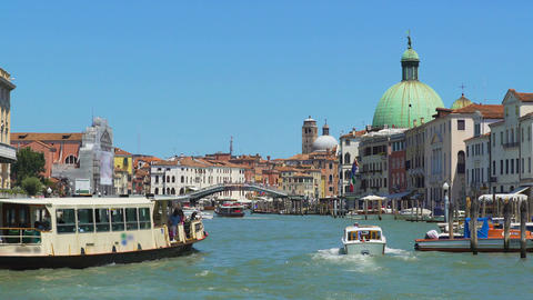 Marine tours in Italy, vaporetto sailing Grand Canal in Venice, sightseeing tour Live Action