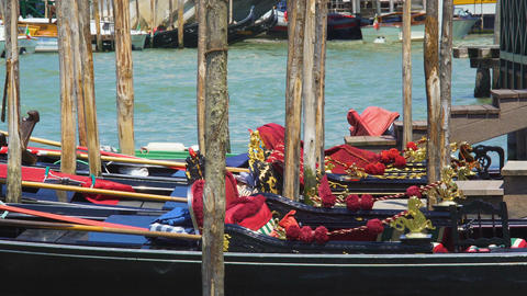 Decorated gondolas parked at Grand Canal, traditional water transport in Venice Footage