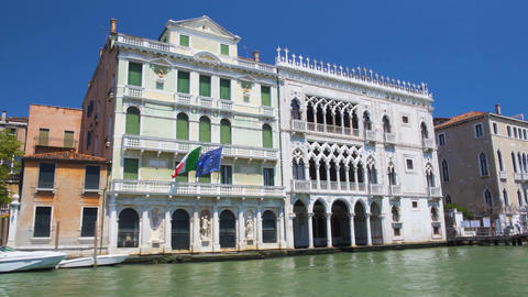 View of elegant Ca'd'Oro facade, boat tour down Grand Canal, Palazzo Santa Sofia Footage