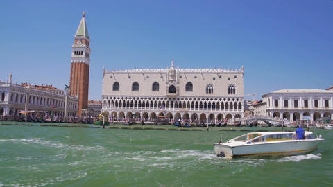 Ancient facade of Doge's Palace in Venice, river tour, antique architecture Footage