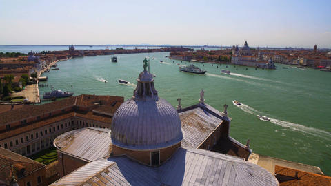 View of Venice from Saint George church roof, tourism and transportation Footage