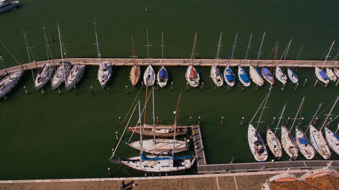 Panoramic view of yacht club, white boats moored in sea port, water transport Footage