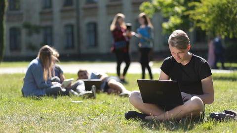 Handsome male student studying with laptop in park Live Action