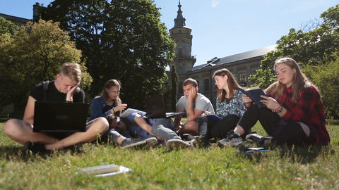 Young exhausted students learning on campus lawn Live Action