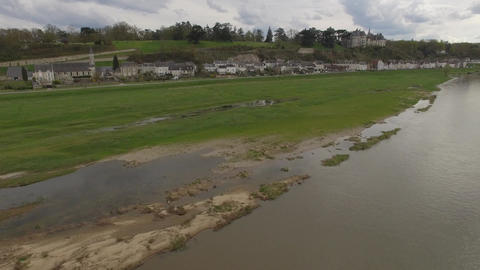 Aerial view by drone of Chaumont sur Loire prinptemps, Loire and Cher, Loire Val Footage