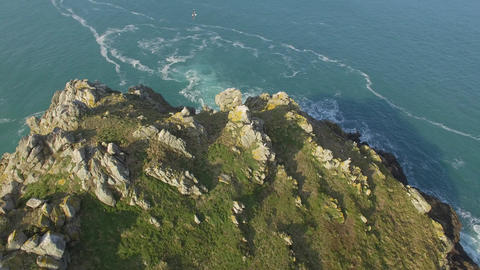 Aerial view by drone of the Pointe du Van, Brittany, Finistere, France Live Action