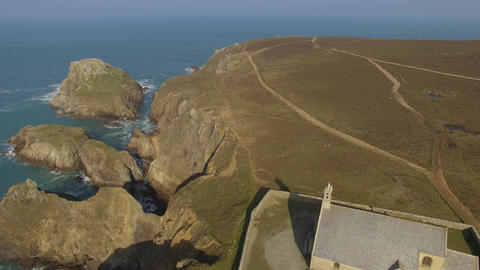 Aerial view by drone of the Pointe du Van and Chapel St. They, Brittany, Finiste Live Action
