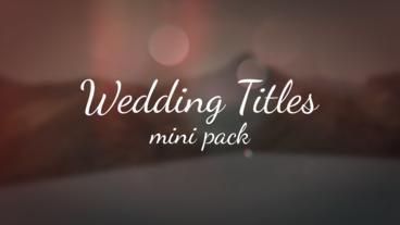 Wedding Titles Mini Pack After Effects Templates