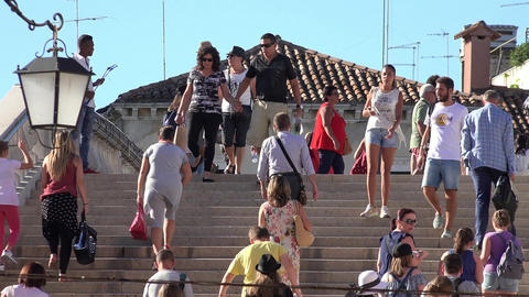 Tourists Walking On Staircase Timelapse Footage
