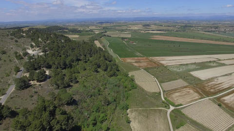 Aerial view of the dry pond Montady, filmed by drone, France Footage