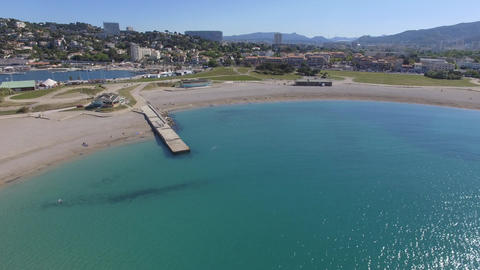 Aerial view of the Prado beaches, filmed by drone, France Footage