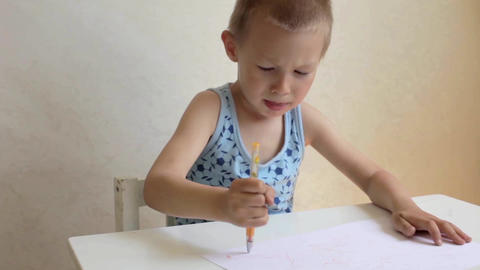 child boy draws very expressive Footage