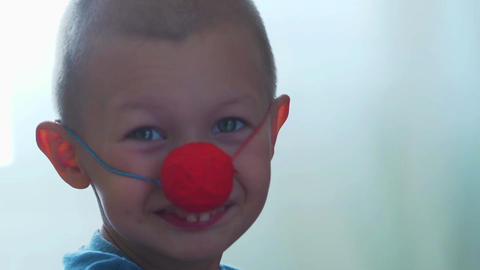 boy with clown nose Footage