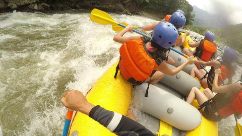Bikini Girls On Extreme White Water Rafting Footage