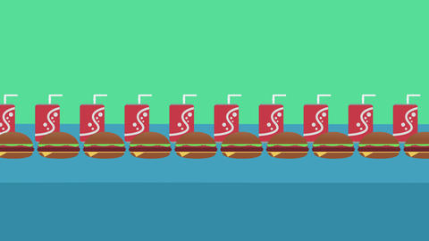 Fast Food Concept, Seamless looping Background of humbuggers and soda cans Animation