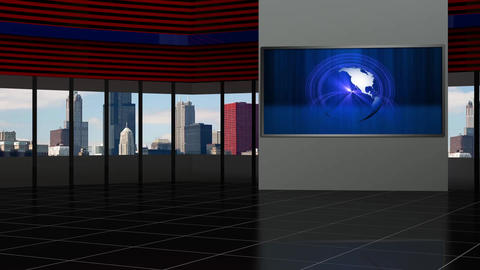 News TV Studio Set 93 - Virtual Background Loop Live Action