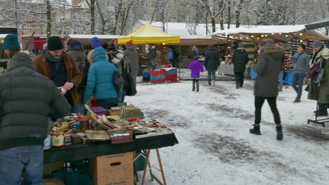 17 Berlin Germany Flea Market In Mauerpark Tourists Winter Snow Footage