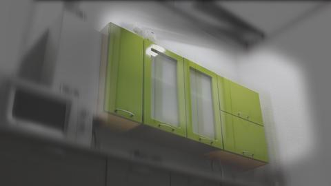 Kitchen Units R In The Kitchen_4K_green_blackandwhite stock footage