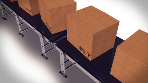 Packages sorted on conveyor belt Animation