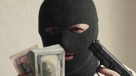 man in a mask terrorist threat weapon Stock Video Footage