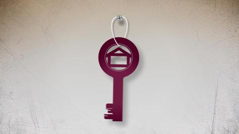 Key with house symbol flat animation Animation