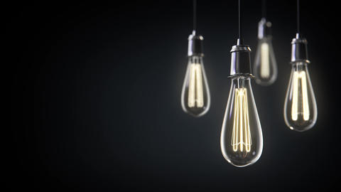 Group of vintage bulb lights 3d animation CG動画素材