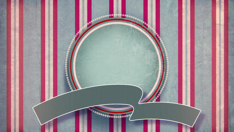 Blank circle label with ribbon vintage animation Animation
