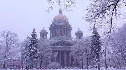 Saint Isaac's Cathedral in winter evening, dim rendering of stately structure Footage